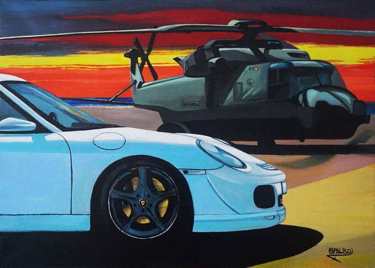 "Kunstgemälde Porsche Panamera, 50x70 Titel: ""Sunset Operation"""