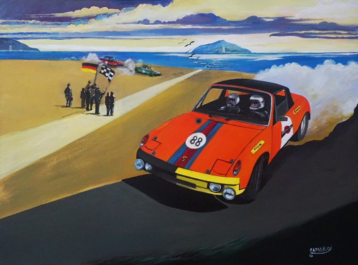 "Kunstgemälde Porsche 914 Ralley Isola d'Elba ""The mysterious island"""